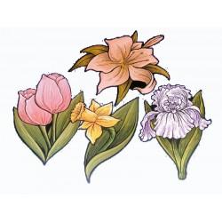 4 découpes fleurs exotiques imprimées des 2 côtés