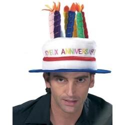 Chapeau Gâteau avec Bougies Joyeux Anniversaire Coiffe Humoristique