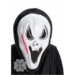 Masque monstre blanc avec scolopendre capuche noire