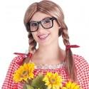 Perruque mi-longue avec deux tresses et lunettes