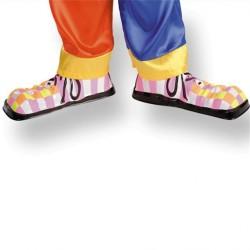 sur-chaussures-fluo-de-clown-enfant-en-plastique-cirque