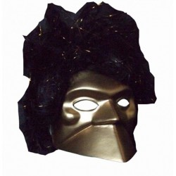 Masque Bauta vénitien or avec perruque noire et or