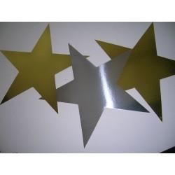 4 étoiles en carton dorées et argentées 35 centimètres