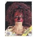 Demi-masque rouge or et rose avec perruque noire et rouge