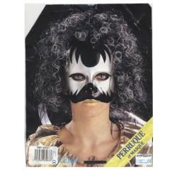 Demi-masque noir et argent avec perruque noire et blanche