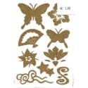 1 plaque 9 Tatouages temporaires pour cheveux or motif éventail