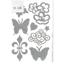 1 plaque 8 tatouages temporaires pour cheveux argent motifs nuag