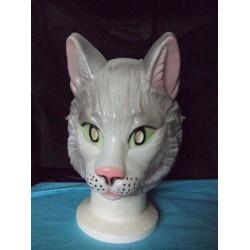 Masque de chat blanc aux yeux verts