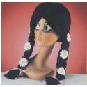 Perruque brune avec tresses et marguerites Perruque hippie