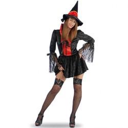 Robe courte de sorcière sexy rouge et noire manches en dentelle