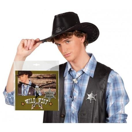 cravate-cow-boy-tete-de-vache-argentee-et-etoile-de-sheriff-bolo