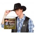 Cravate cow-boy tête de vache argentée et étoile de shériff bolo