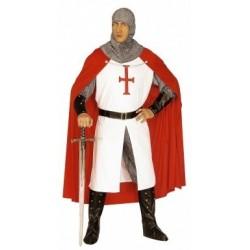 Costume de chevalier blanc cape rouge croisé