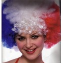 Perruque Afro bleu blanc rouge Pop GM frisée tricolore France coupe du monde