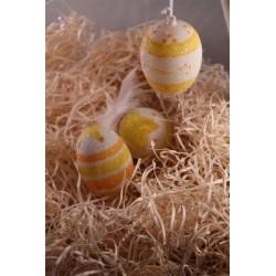 3 oeufs décorés blanc jaune orange Pâques décoration granitée