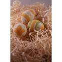 3 oeufs décorés blanc vert orange Pâques décoration granitée