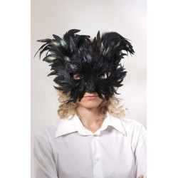 Loup plumes noires paillettes noires chat noir