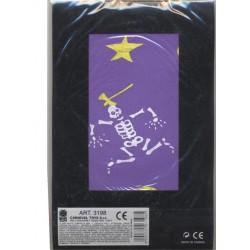 Collants violets enfant squelette et étoiles