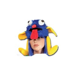Chapeau de monstre bleu et jaune en peluche et velours coiffe humoristique