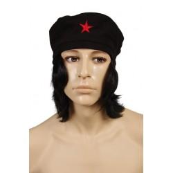 Perruque/béret du Che avec étoile rouge brodée
