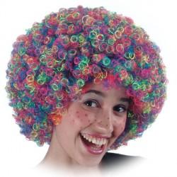 Perruque Afro Pop frisée multicolore moyen modèle Clown
