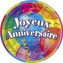 """8 petites assiettes """"joyeux anniversaire"""" ballons 17.8 cm en car"""