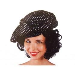 Casquette disco noir à paillettes petite tour de tête