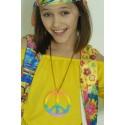 Collier médaillon hippie couleur arc-en-ciel love peace hope