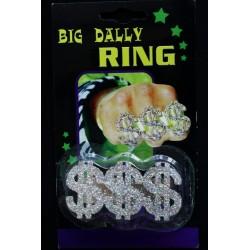 Bague 3 doigts dollars réglable couleur argent pailleté