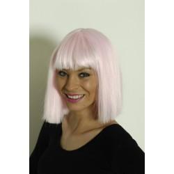 Perruque carré rose pâle coco
