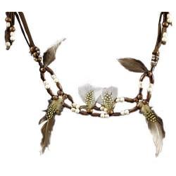 Collier indien ou ceinture perles en bois et plumes pintade