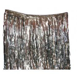 Rideau lamé argent Rideau métal frangé 4 m x 1 m