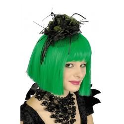 serre-tete-noir-fleur-paillettes-vertes-dentelle-ruban-et-perles