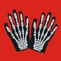 Gants courts noirs adulte motif main de squelette