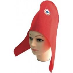 Bonnet phrygien en papier crépon avec une cocarde bleu blanc rouge sur le coté Marianne
