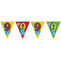 Guirlande chiffre 9 Fanions Drapeaux triangulaires sur 6 mètres