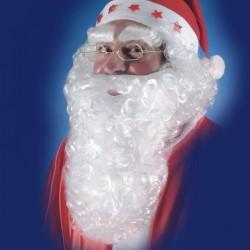 Barbe Père Noël blanche bouclée 28 cm
