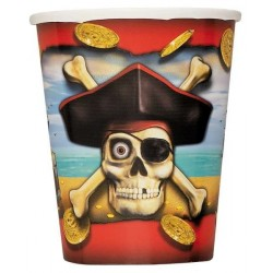 8-gobelets-pirate-tetes-de-mort-et-pieces-d-or-270ml