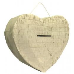 Urne Ivoire en forme de coeur ou à suspendre façon pignata pinata