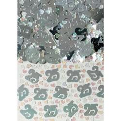 Confettis de table 25 argentés Noces d'argent sachet 14 gr