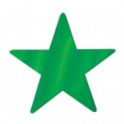 12 Découpes étoiles vert métallisé 8.5 cm