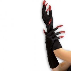 Gants noirs mi-longs avec ongles longs pailletés rouges