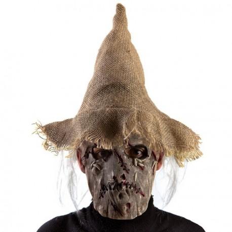 les mieux notés grandes marques Royaume-Uni Masque en latex d'épouvantail avec chapeau et cheveux gris - Festi Fiesta