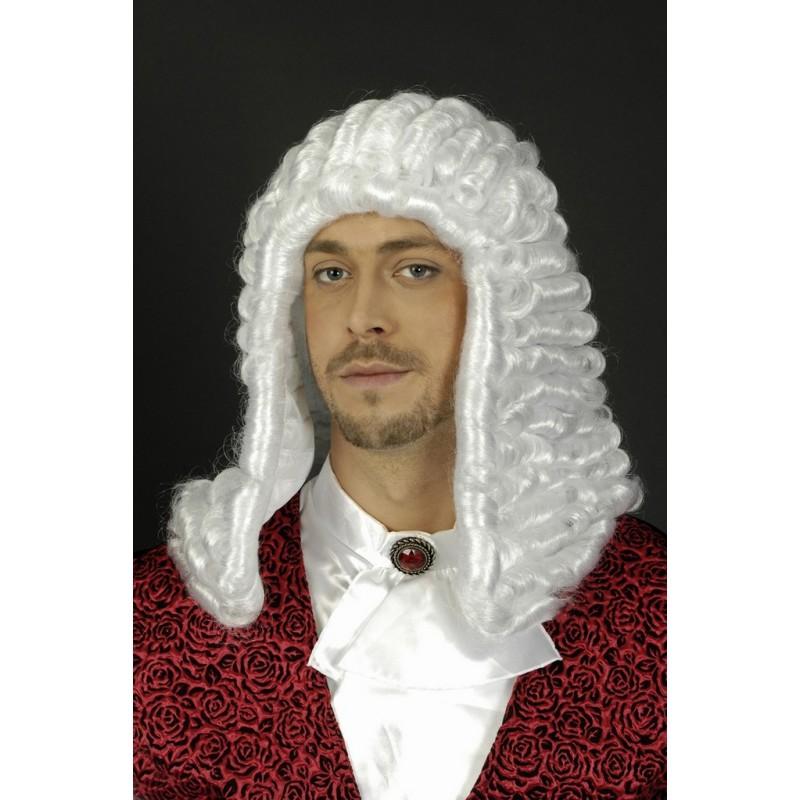 Perruque blanche de juge Louis XIV à rouleaux