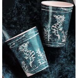 "10 gobelets de la mer ""Hippocampe"" blanc sur fond bleu"