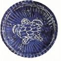 10 petites assiettes de la mer Tortue blanche sur fond bleu Ø 18