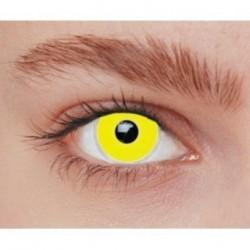 Lentilles de contact fantaisie iris jaune vif uni Halloween