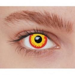 Lentilles de contact fantaisie volcan jaune et rouge loup garou Halloween