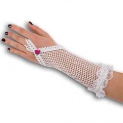 Mitaines mi longues blanches en résille et dentelle 2 bracelets