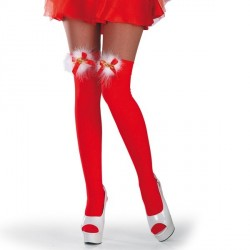 bas-rouge-petit-noeud-blanc-sur-le-haut-de-la-jambe-devant